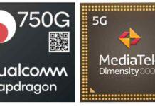 Dimensity 800U VS Snapdragon 750G